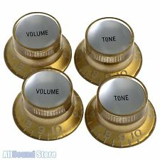 (4) GOLD Bell Top Hat Knobs w/ Silver REFLECTOR for Epiphone® & Import Guitars