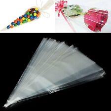 50 Pcs/Set Wedding Sweet Candy Bag Cupcake Gift Bag Cone Shape Transparent Bags