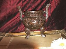"""Cast Iron Brown Wall Pocket, Double Dragon & Footed w/Elephant heads  9""""x8 3/4"""""""