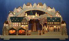 3D-Schwibbogen 68x39cm Weihnachtsmarkt mit elektrischer Pyramide Erzgebirge Neu