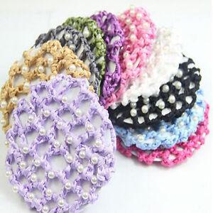 Women Hair Mesh Bun Cover Snood Pearl Ballet Dance Skating Net Crochet Hot Sale