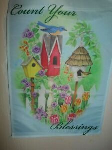 """Count Your Blessings  Garden Flag 12"""" X 18""""  One Sided $$"""