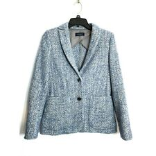 Piazza Sempione Tweed Boucle Blazer Jacket Wool Alpaca Mohair Blue 40 Small