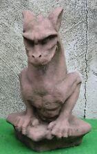 Drache Gargoyle Gotik klein Figur Kunst Sandstein Antik Look Steinguß H 33 ROT
