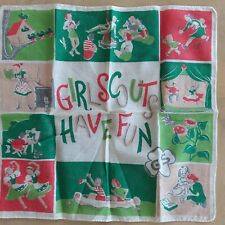 """Girl Scouts Of America Vintage Girl Scouts Have Fun Handkerchief Hanky 12"""" Sq."""