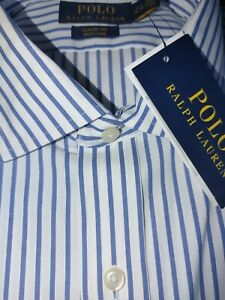 Men's Polo Ralph Lauren 17 34/35 White Blue button up dress shirt classic fit