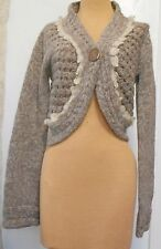 Anthropologie Sleeping on Snow Brown Open Weave Cropped Sweater Size SMALL