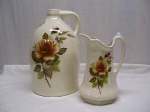 """DECORATIVE JUG AND PITCHER SET VTG RHINE POTTERY BEIGE YELLOW ROSE FLORAL 14"""""""