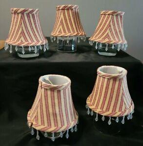 "(5) 4"" fabric chandelier lamp shade, burgundy & gold stripe, hanging bead edge"