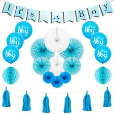 Baby Shower Decorations For Boy Party Supplies Banner Balloons Fans Tassels 24pc