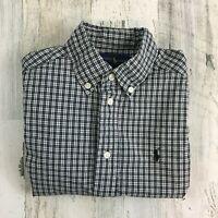 Ralph Lauren Boys Sz 5 Long Sleeve Polo Pony Dress Shirt Button Black Plaid