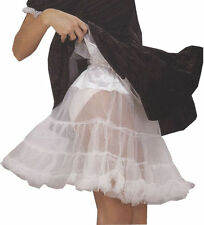 "Knee Length Women 21"" White Crinoline Full Figure XL Petticoat Lace Tulle Slip"