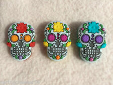 15 Large Skull Novelty Craft DIY Decor Halloween Sewing Buttons 22mm Black K558