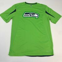 Seattle Seahawks T Shirt Men's Medium Short Sleeve Green Crew Neck Polyester
