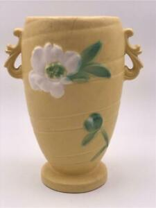 Vintage Weller Pottery Tall Yellow Vase White Floral Art Deco