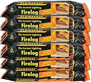 FlameFast Instant Lighting Firelog Fireplace Fuel Fire Log 2 Hour Burn Multipack