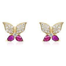 14K YELLOW GOLD DIAMOND CLUSTER & RUBY BUTTERFLY FLOWER  STUD STUDS EARRINGS