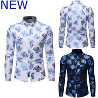 Stylish Top Shirt Long Sleeve Casual Mens Slim Fit Floral Dress Shirts Luxury