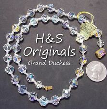 "Vtg 1950s Signed H&S ORIGINALS GRAND DUCHESS Necklace, AB Crystal Strand 21"" NWT"