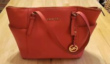 Michael Kors Jet Set Tote Medium Tangerine Leather Carryall Orange EUC