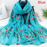 Elegant Women Long Embroidery Cotton Scarf Wrap Ladies Shawl Large Silk ScaB1IS