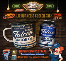 "Ford Falcon Oil Can ""LIP BURNERS"" metal mug PLUS Falcon GT Oil Can Stubby cooler"