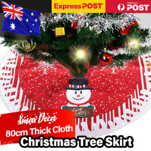 80cm Christmas Tree Skirt Base Durable Cloth Xmas Floor Mat Ornaments Decoration