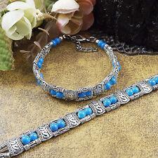S02 Hot Fashion Tibetan Silver Jewelry Beads Bangle Turquoise Chain Bracelets