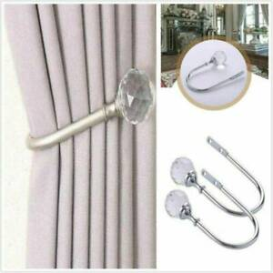 2Pcs Silver Metal Crystal Curtain Holdback Wall Tie Backs Hooks Hanger Holder