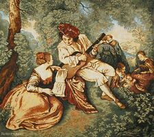 WALL JACQ. WOVEN TAPESTRY A Musician - Victorian Scene EUROPEAN PICNIC PICTURE