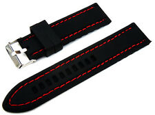 Red Stitched 22mm Silicon Rubber Watchstrap