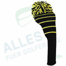Classic Headcover from Knitting Yarn Black with Yellow Wrestling, NEW