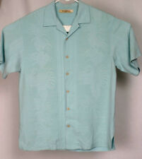 Tommy Bahama Mens Silk Light Blue Tropical Plants Short Sleeve Shirt Size S