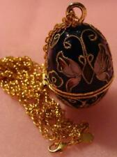 Vintage Cloisonne Egg POISON Necklace Egg Opens Butterfly Design RARE Beauty
