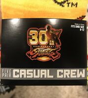 MENS STREET FIGHTER VIDEO GAME 5 PAIR CASUAL CREW SOCKS Shoe Size 8-12 New
