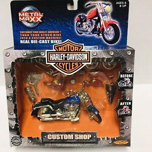 Harley Davidson Custom Shop FLSTF Fat Boy Scale 1:20 Die-Cast Motorcycle Blue