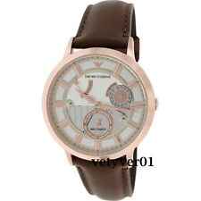 EMPORIO ARMANI Meccanico RENATO Automatic SS Rose Gold-Tone Brown Leather AR4667
