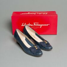 Women's Salvatore Ferragamo Navy Leather Slip On Pumps with Bow Size 7.5 AA