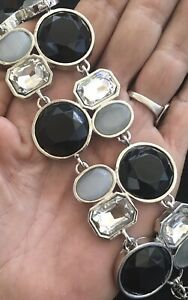 White House Black Market Bracelet Faceted Black Gray Clear Stones Silver Tone 7""