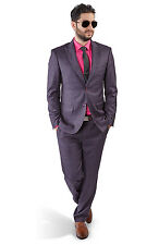 Slim Fit Men Suit Purple 2 Button Checkered Windowpane Plaid Vest Optional Azar
