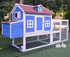 """Mobile 98"""" Wood Chicken Coop Backyard Poultry Hen House Feeder Rabbit Hutch Cage"""