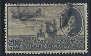 Egypt, Scott #C50,200m King Farouk and Plane, Used