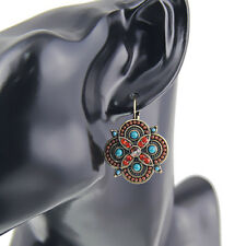 Vintage Style Silver Plated Multi-Color Red Brown Blue Crystal Flower Earrings
