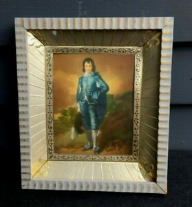 Vintage Hollywood Regency framed picture wall decor Blue Boy Gainsborough 1960s