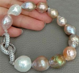 Natural Cultured Baroque Keshi Pearl Stretch Bracelet Cz pave Connector