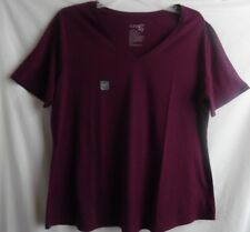 TERRY SKY V-NECK PURPLE BLOUSE TOP SHORT SLEEVE COTTON POLYESTER 2X 20W 22W