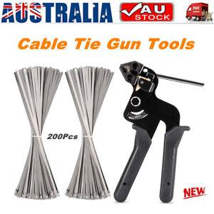 200pcs Stainless Steel Exhaust Wrap Zip Cable Ties Gun Auto Tightener Cut Fasten