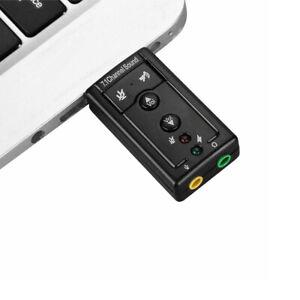 PC USB 2.0 External 7.1 Channel 3D Virtual Audio Sound Card Mic Adapter Laptop