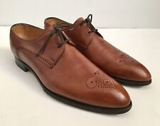 JOHN LOBB Chelmsford Gold Museum Brown Leather Brogue 2 Eye Derby Shoes US 9.5