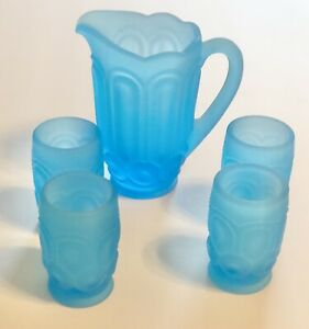 Moon and Star Glass Weishar Mini Water SET - Ocean Blue Frost Pitcher Tumblers